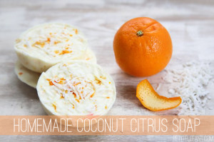 Homemade coconut citrus soap